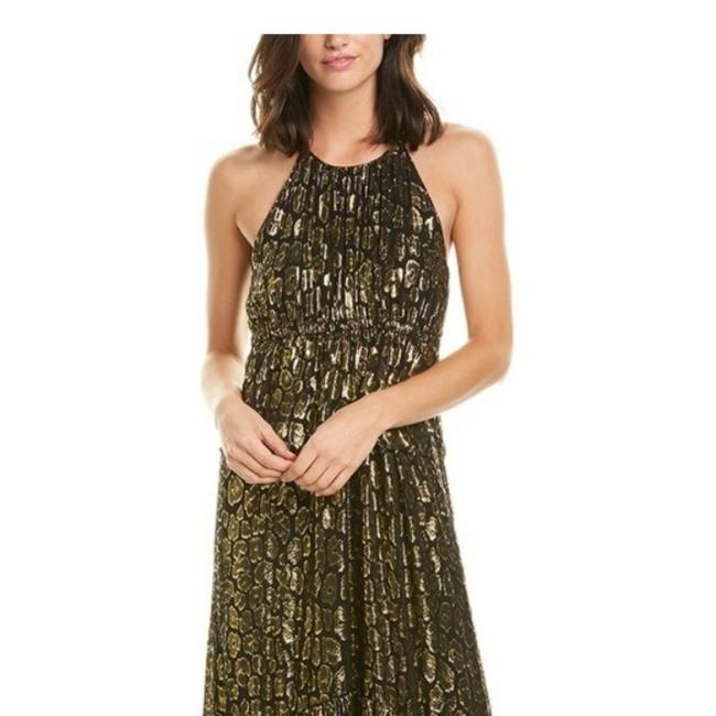 Item - Black and Golden Leopard Rosa Midi Mid-length Casual Maxi Dress Size 4 (S)