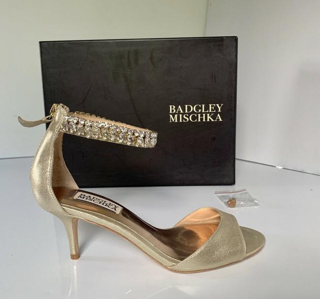 Item - Gold Angel Ii Crystal Ankle Strap Heel Peep Toe Sandals Size US 6 Regular (M, B)