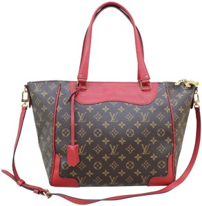 Louis Vuitton Lv Monogram Canvas And Calfskin Estrela Nm Satchel in Brown&red