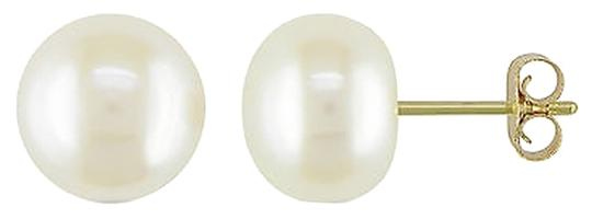 Other 8-8.5mm Freshwater White Cultured Button Pearl Aaa Stud Earrings 14k Yellow Gold