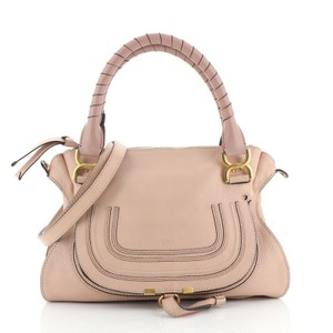 Chloé Marcie Leather Satchel in Pink