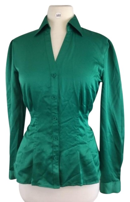 Item - Green Silky Shirt Button-down Top Size 8 (M)