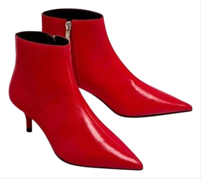 Zara Red Leather Boots/Booties Size US 7.5 Regular (M, B) Zara Red Leather Boots/Booties Size US 7.5 Regular (M, B) Image 1