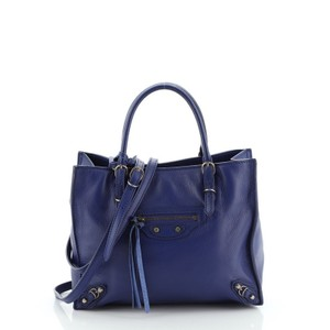 Balenciaga Papier Leather Tote in Blue