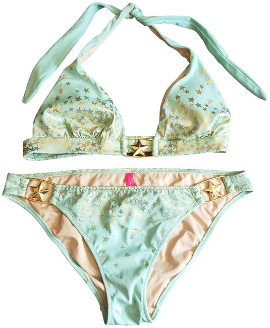Item - Seafoam/Mint Green & Gold Star Print Banded Halter Top with Low-rise Bottom (Wc-218-948 - 949) Bikini Set Size 6 (S)