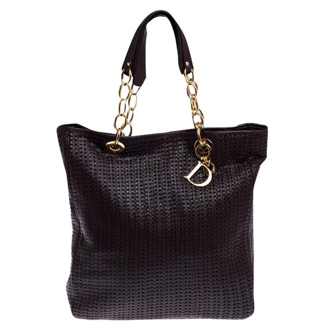 Item - Shopping Woven Large Soft Brown Leather Tote