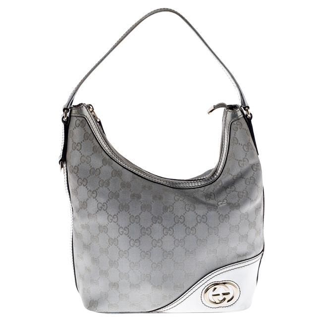 Item - Britt New Silver Canvas and Leather Hobo Bag