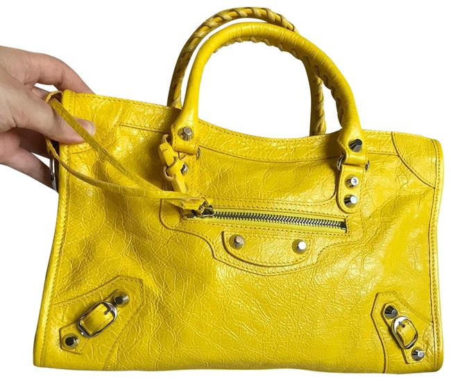 Item - Bag Classic Silver City Nickel Small Yellow Lambskin Leather Tote