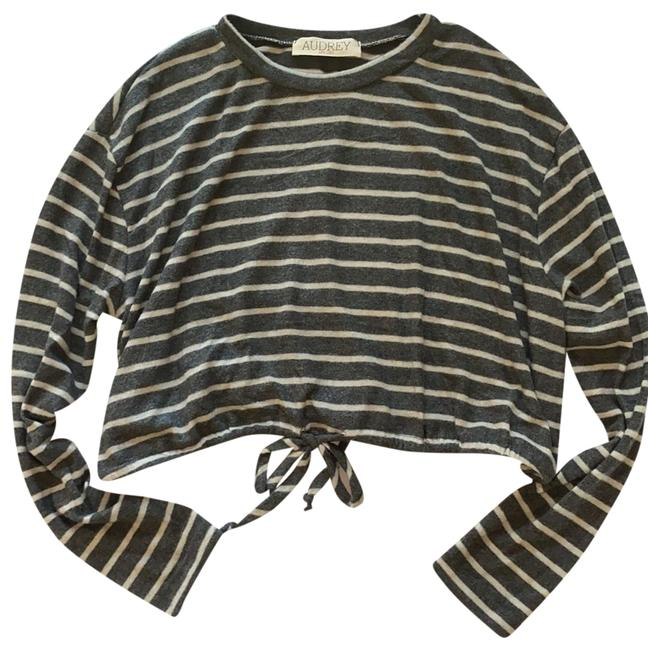 Item - 3plus1 Dark Gray/Cream Stripe Sweater
