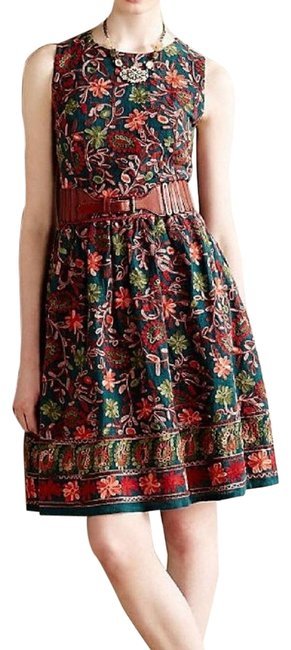 Item - Green Red Adelyn Rae Needlepoint Garden Embroidered Fit & Flare Short Cocktail Dress Size 2 (XS)