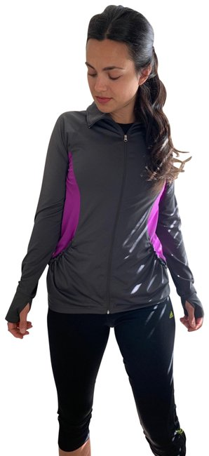 Aerie Gray Dark & Purple Track Activewear Outerwear Size 8 (M) Aerie Gray Dark & Purple Track Activewear Outerwear Size 8 (M) Image 1