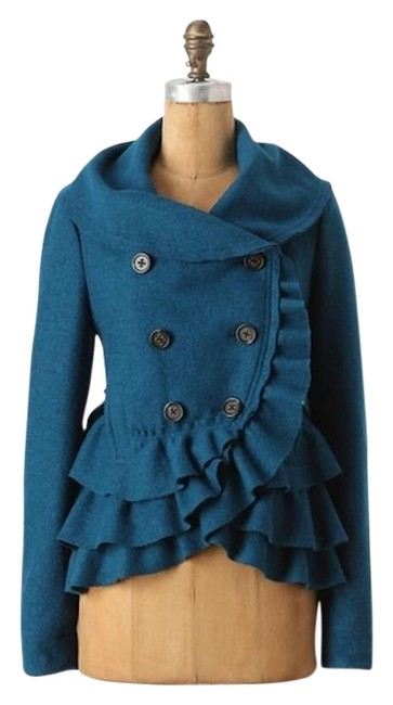 Item - Teal Elevenses Frilled Echelons Coat Size Petite 4 (S)
