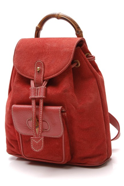 Item - Vintage Bamboo Mini - Red Suede Backpack
