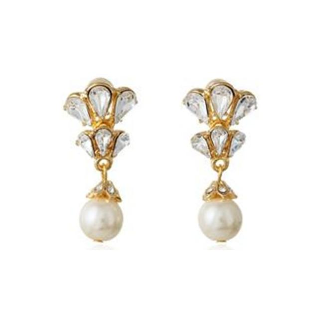 Item - Gold Crystal and Pearl Drop Earrings