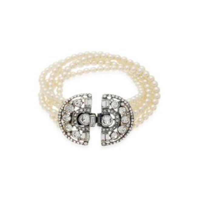Item - Cream Deco 5 Row Pearl and Crystal Bracelet