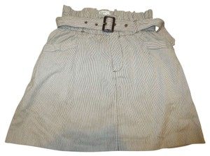 American Eagle Outfitters Belted High-waisted Skirt White/Brown Striped