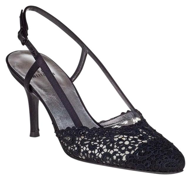 Item - Black Lace Lady Evening Pumps Formal Shoes Size US 6.5 Regular (M, B)