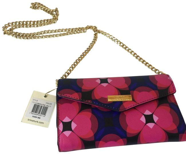 Item - Floral Blue Pink Black Gold Faux Leather Cross Body Bag