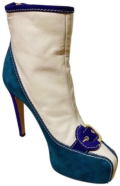 Item - Cream Green Purple Gold Multicoloured Leather Boots/Booties Size EU 40 (Approx. US 10) Regular (M, B)
