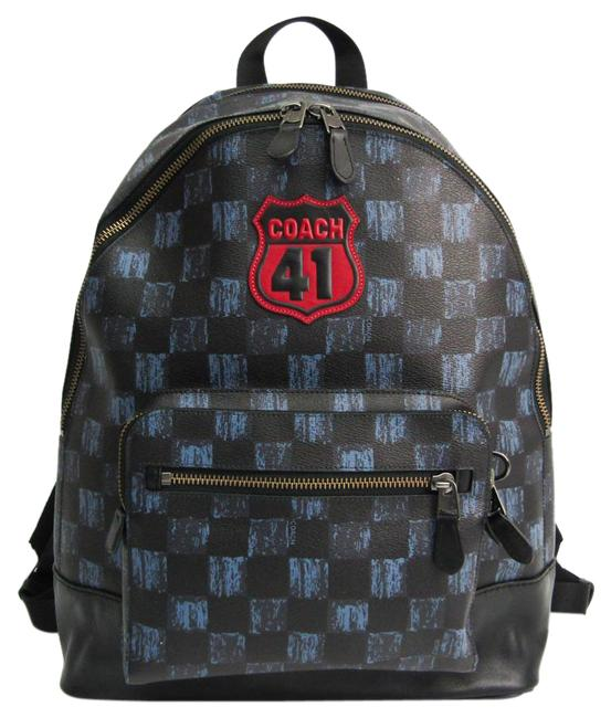 Item - West Graphic Checker Applique F23249 Men's Black / Navy Leather / Coated Canvas Backpack