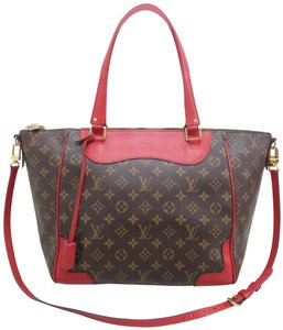 Louis Vuitton Lv Estela Nm Monogram Satchel in Brown and Red