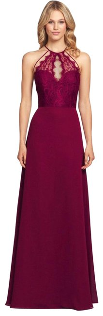 Item - Burgundy 5857 Lace Halter Neck Chiffon Bridesmaid Gown Long Formal Dress Size 12 (L)