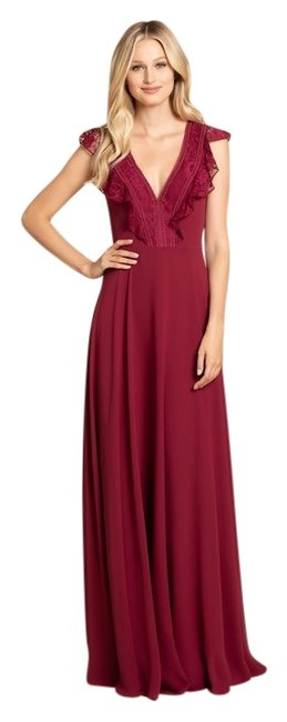 Item - Burgundy 5912 Lace Chiffon Bridesmaid Gown Long Formal Dress Size 12 (L)