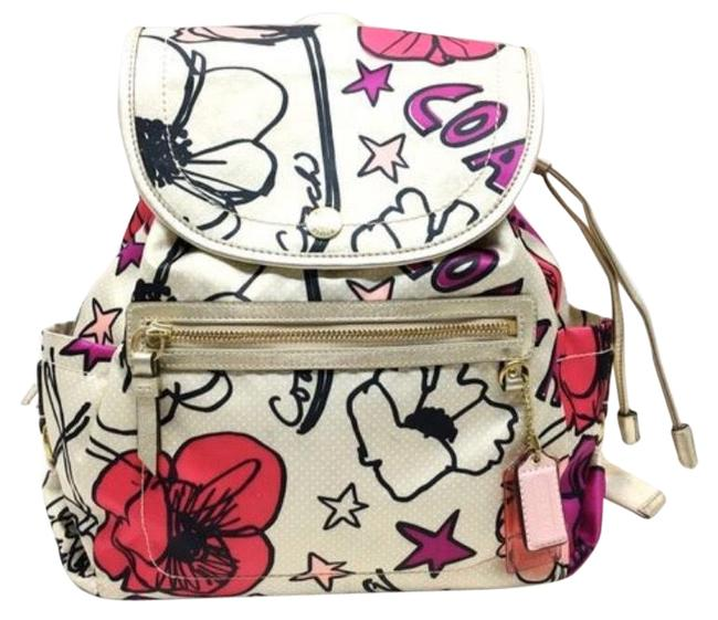 Item - Kyra Floral Poppy Print Multi Colors Sateen Backpack