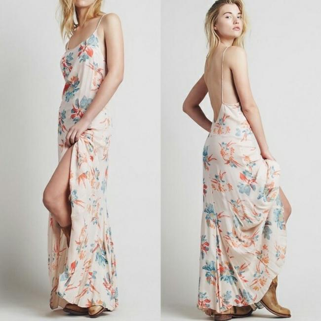 Item - Peach Floral Star Chasing Long Casual Maxi Dress Size 4 (S)