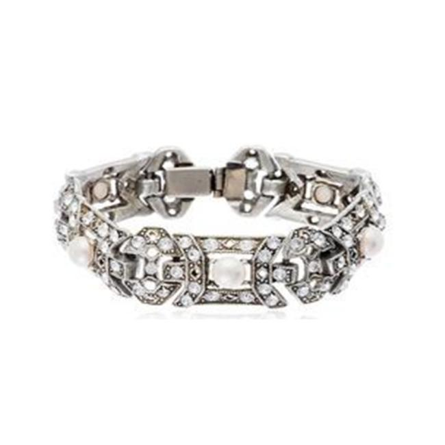 Item - Silver 1930s Pearl and Crystal Bracelet