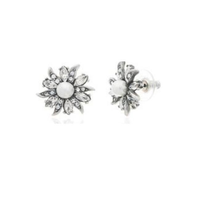 Item - Silver Floral and Lace Stud Earrings