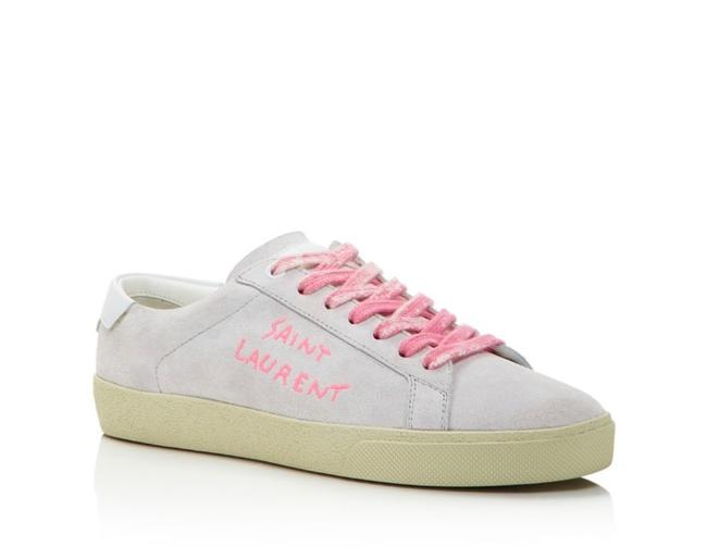 Item - Grey and Pink Ysl Embroidered Low-top Court Classic Si/06 Sneakers Size EU 39 (Approx. US 9) Regular (M, B)