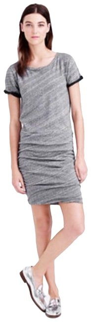 Item - Gray Marled Womens Ruched Knit Sweatshirt Neck Mid-length Short Casual Dress Size 4 (S)