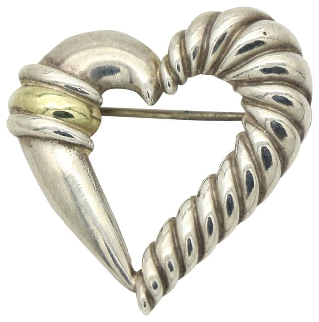 Item - Silver Cable Heart Brooch