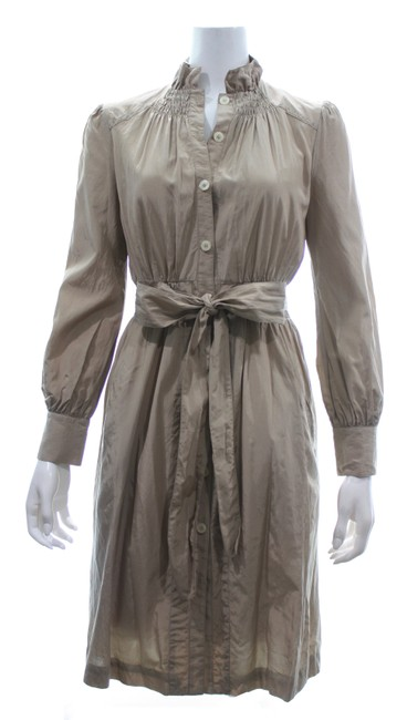 Item - Tan Long Sleeved Button with Belted Waist Mid-length Formal Dress Size 2 (XS)