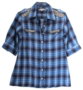 What Goes Around Comes Around Plaid Studded Button Down Shirt Blue