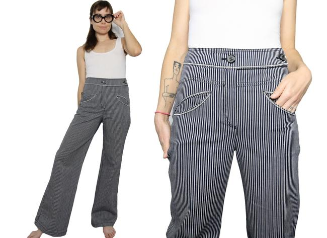 Item - Blue Grey 2008 Cruise Collection High Waist Stripe Trousers Pants Size 27 (4, S)