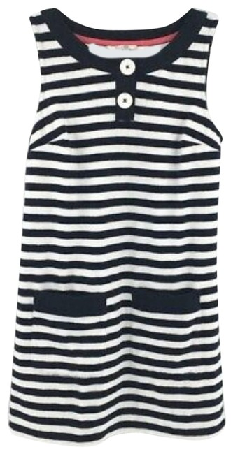 Item - Navy Striped Terry Sleeveless Beach Pool Towelling Tunic Cover-up/Sarong Size Petite 8 (M)