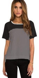 James Perse Colorblock Stretchy Soft T Shirt Gray