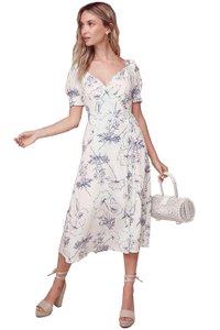 Navy Sketch Floral Maxi Dress by ASTR Midi Wrap Puff Sleeves