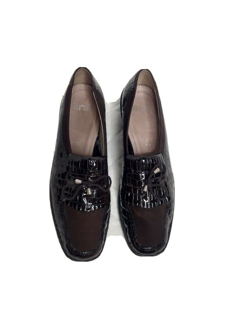 Item - Brown Croc Patent Leather Slip On Loafers Kiltie Uk 7.5 Flats Size US 10 Regular (M, B)