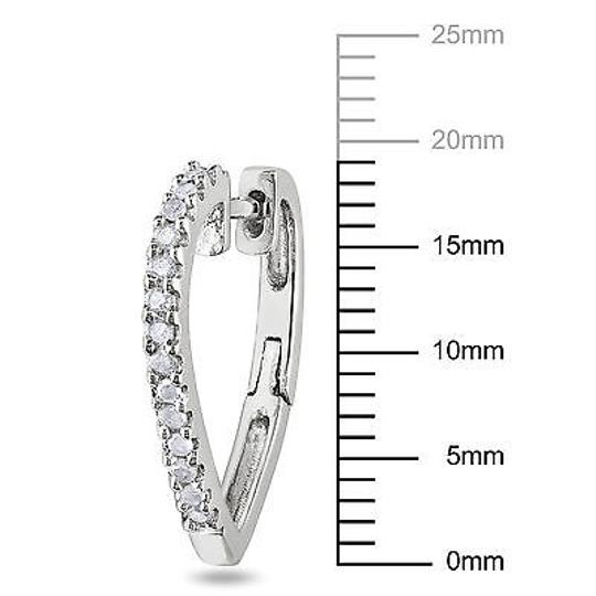 Other Sterling Silver 14 Ct Diamond Tw Cuff Heart Hoop Earrings I3