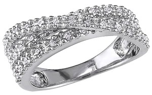 Other Sterling Silver 14 Ct Diamond Tw Fashion Crossover Ring 925 I3