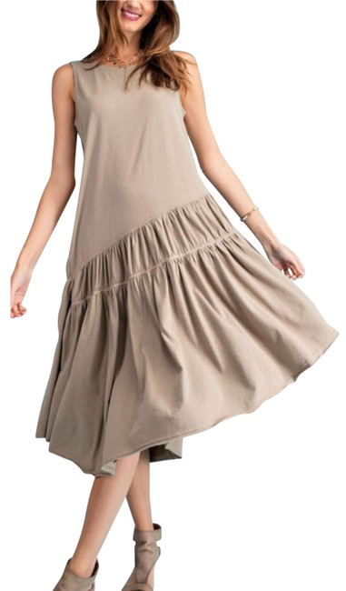 Item - Faded Olive Swing Mid-length Short Casual Dress Size 14 (L)