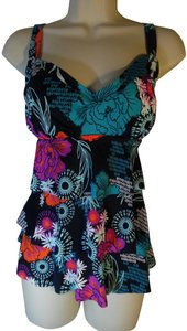 Swim Solutions Swim Solutions Swimsuit Floral Printed Tiered Tankini Top Sz 14 D Cup