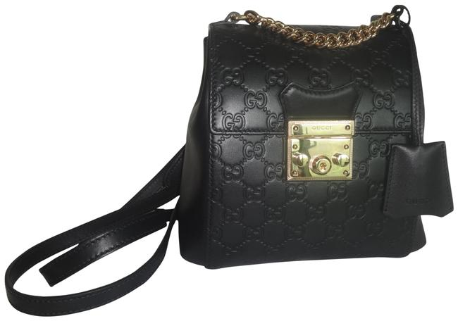 Item - Padlock Signature Black Leather and Gg Leather Backpack