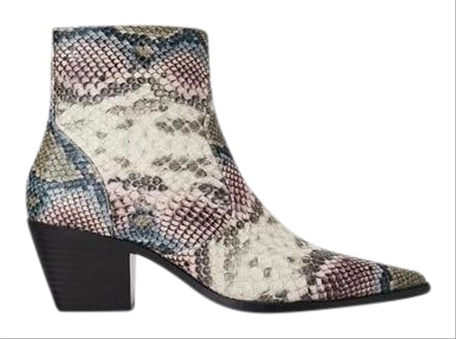 Item - White Purple Grey Snake Print Pointed Boots/Booties Size US 8 Regular (M, B)