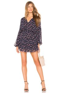 MISA Los Angeles short dress Blue Floral Ruffle Metallic on Tradesy