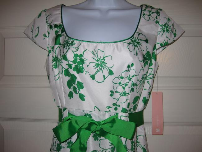 Dressbarn short dress white with green Short Sleeve Scoop Neck A-line on Tradesy