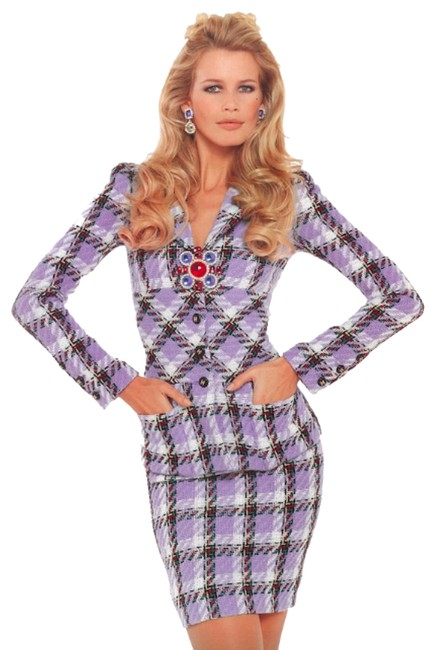 Item - Lavender Claudia Iconic Vintage Plaid Spring 1995 95p Jacket Skirt Suit Size 8 (M)